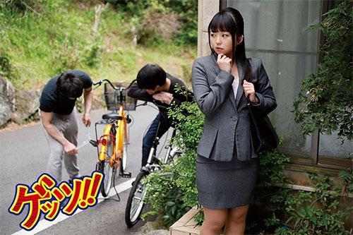 自転車通勤するタイトスカートOLを野外軟禁!自転車拘束痴漢で強制アクメ!!快楽で痺れたマ●コにヤリ捨て中出し!!サンプル画像3