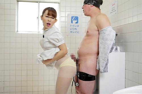 「誰かに拘束されたフリしてチ○ポを出したまま助けを待っていたら…普段は優しい看護師がS女に豹変し強制挿入させられた」VOL.1サンプル画像1